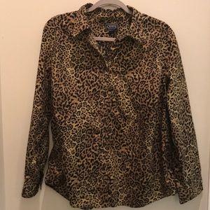 Chaps Animal Print Long sleeve top Size 2X